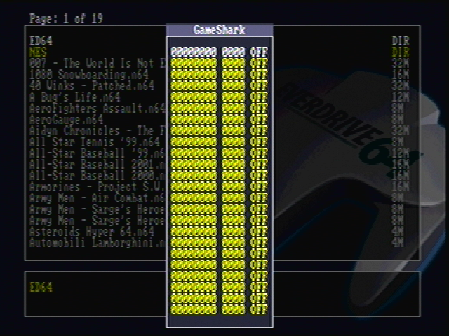 micro  a fairly new addition to the everdrive 64 is the support of some gameshark codes the gameshark support was originally very basic but it has been improved